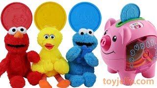Learn Colors Fisher Price Piggy Bank Baby Toys Kinder Joy Surprise Egg Elmo Big Bird Cookie Monster