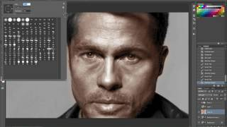 Comparing student's Brad Pitt colorization with mine