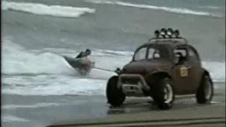 k-pot board por la arena y por el agua con un volkswagen 1953 - Miramar Argentina