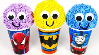 Learn Colors Foam Ice Cream Surprise Eggs with Thomas Batman and Spiderman Superhero! Toys for Kids