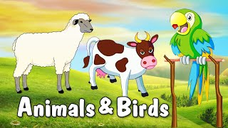 Learn Domestic Animals in English | Animated Video For Kids | English Animation Video For Children