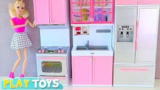 Barbie Doll Kitchen Set up 4 Tea party w/ Disney Princess Rapunzel, Belle, Ariel! Play Kitchen toys