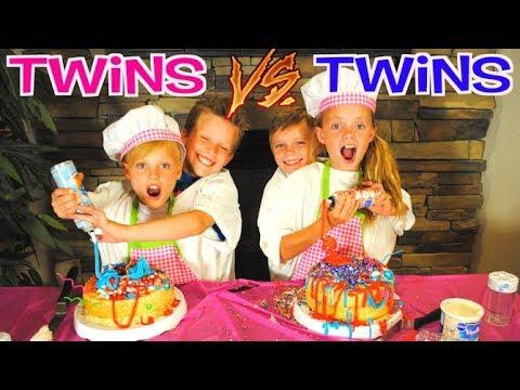 NOT MY ARMS BIRTHDAY CAKE CHALLENGE Ninja Kidz TV Twins VS Kids Fun TV Twins Team Up
