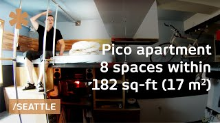 DIY-crafted Seattle micro apartment: 8 spaces stacked in 182 sq ft