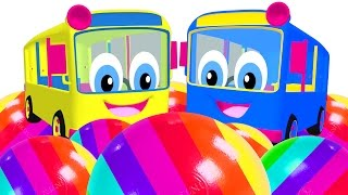 Kids Learn Colors with Surprise Eggs & Bus Toys | Wheel on the Bus Song | Teach Colours ABCs Shapes