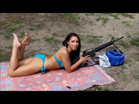 Sexy Hot Girl Shooting With Gun Hot Woman Bikini