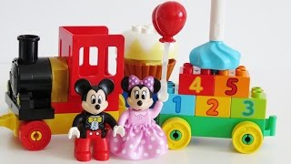 Learn colors numbers Lego Duplo Minnie Mickey Birthday Parade toy train