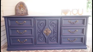 Furniture Makeover: Do it yourself 9 Drawer Navy Blue Dresser
