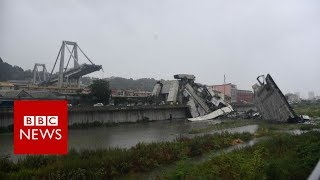 Italy bridge: Moment of Genoa motorway collapse - BBC News