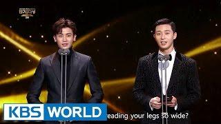 Park Seo Joon & Park Hyungsik from Hwarang presents an award [2016 KBS Drama Awards/2017.01.03]