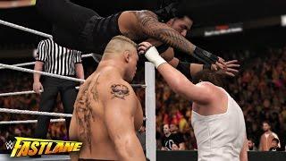 WWE Fastlane 2016 - Roman Reigns vs Brock Lesnar vs Dean Ambrose Triple threat Match - WWE 2K16
