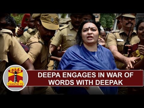 Deepa engages in war of words with Deepak at Poes Garden   Thanthi TV
