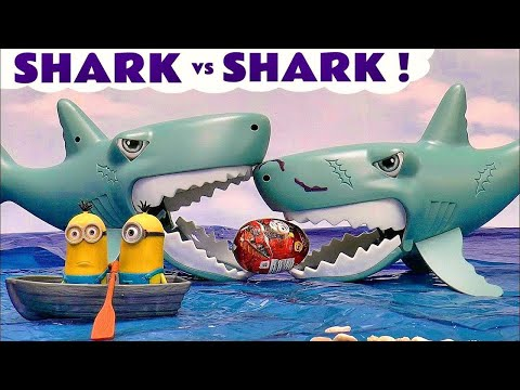 Thomas and Friends Shark vs Shark eating Surprise Eggs Minions Cars Justice League and Disney Toys