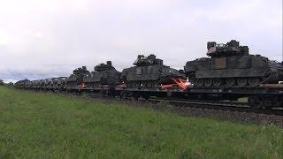 Грузовой поезд с военной техникой / Freight train loaded with military technics