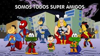 Somos Todos Super Amigos - clipe animado com Batman e Robin, Homem Aranha, Superman, Thor, King Fu