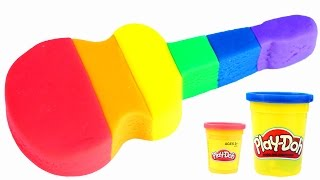 Play Doh Rainbow Guitar How To Make PlayDough Modelling Clay Fun and Creative Learn Colors