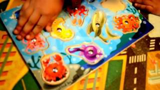 Lets Learn Sea Animals with Puzzle preschool toddler children learning fun