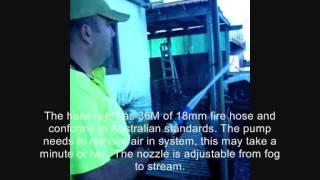Bushfire Pump & Hose Demo - Attach to sprinkler system