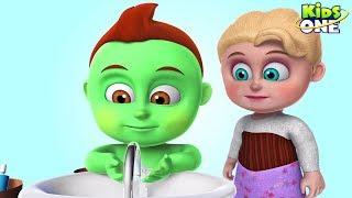 Fun BABY CARE | Greeny Kiddo Brushing Time | Learn How to BRUSH TEETH Properly for Kids - KidsOne
