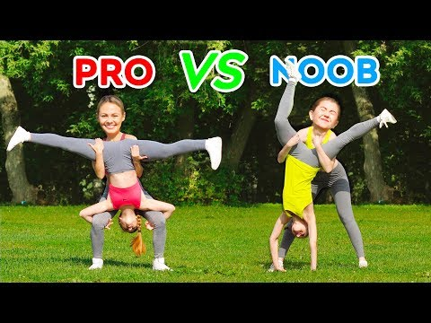 IMPOSSIBLE ACROBATICS CHALLENGE PRO vs NOOB Spin the Mystery Wheel Gymnastic Tricks