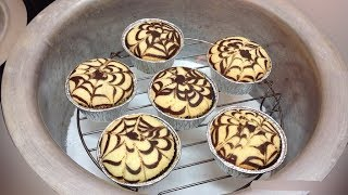 Swirl Cupcakes Recipe |  Cotton Soft Vanilla Chocolate Cupcakes Without Oven