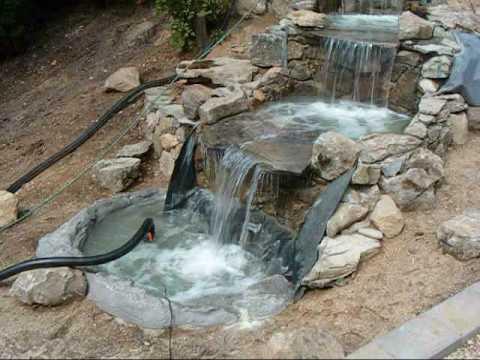 construccion de una cascada fuente waterfall.