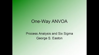 One Way ANOVA Explained