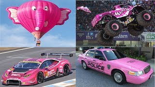 Pink Transport Vehicles for Children Learn Vehicles Names Cars and Trucks for Kids
