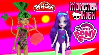 MLP Rarity Monster High Jinafire Long My Little Pony Playdoh Swimsuit Beach Equestria Girls Unboxing