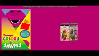 Barney's Colors and Shapes 1999 VHS Pack Opening & Closing