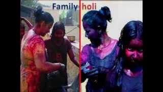 family holi playing
