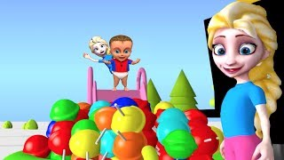 Superhero Babies PLAY on the WATER SLIDE Inflatable POOL CANDY SURPRISE ❤ 3D clay Animation Movie