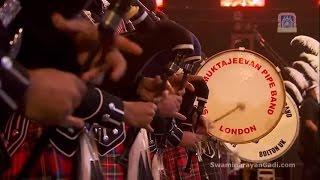 Shree Muktajeevan Swamibapa Pipe Band welcomes PM Modi at Wembley Stadium