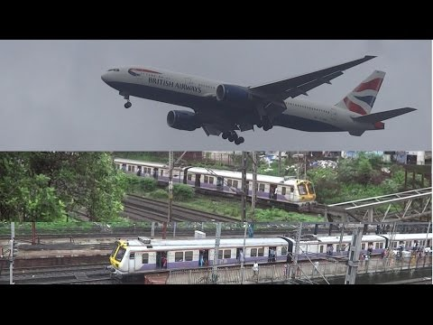 Massive British Airways lands above 4 Mumbai Local Trains - one 15 coach and one double fast