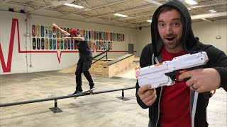 NERF BLAST TO FACE WHILE 21 FOOT FEEBLE GRIND!