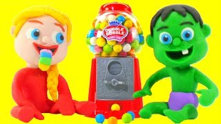 SUPERHERO BABIES & GUMBALL MACHINE ❤ Superhero & Frozen Play Doh Cartoons For Kids