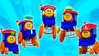 Bob o trem | cinco pequenos bebês | crianças saltando rimas | rima em português | Five Little Babies
