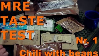 MRE Taste Test   Menü Nr. 1 - Chili with beans / Chili mit Bohnen   US MRE   Geschmackstest