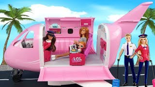 Barbie Doll Family LOL Surprise Pack Their Bags for Airplane Travel