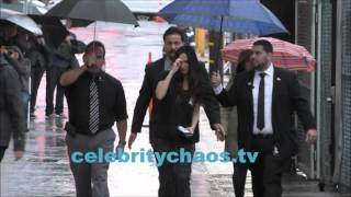 Actress Megan Fox arriving to Jimmy Kimmel live in the pouring rain
