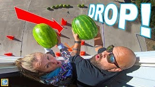 LAST TO DROP THE GIANT WATERMELON CHALLENGE!! Don