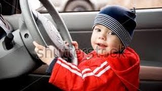 Small boy drives a car#Amazing World