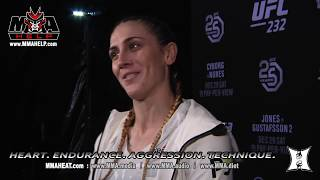 UFC 232: Featherweight Megan Anderson Post-Fight Interview On TKO Win (Toe In Eye) Over Cat Zingano