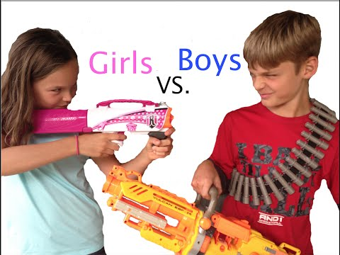 Nerf War: Boys vs Girls Part 1