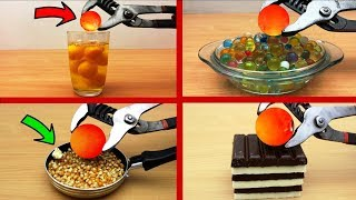 EXPERIMENT Glowing 1000 degree METAL BALL vs EGGS, Popcorn, COCA COLA, Watermelon, TOOTHPASTE