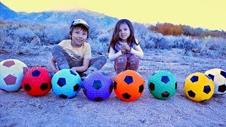 Toys Explorers Playing Outside and Learning Colors with Soccer Ball