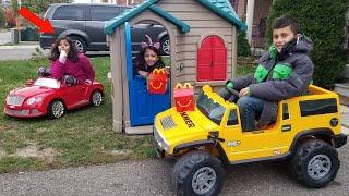 Kids Pretend Play Mcdonalds Drive Thru Prank on Power Wheels Ride on Car!!!