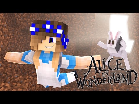 Minecraft Alice in Wonderland LITTLE CARLY FALLS DOWN THE RABBIT HOLE