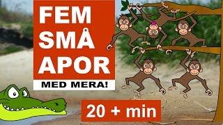 Barnsånger på svenska - Fem små apor m.m. | 20+ min