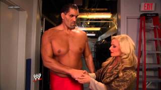 An impressed Natalya approaches The Great Khali after his victory over David Otunga: SmackDown, Nov.